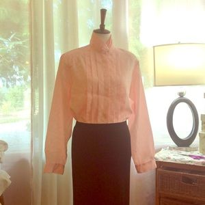 Vintage pink,silky poly, button high neck blouse